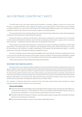 Aid For Trade Country Fact Sheet
