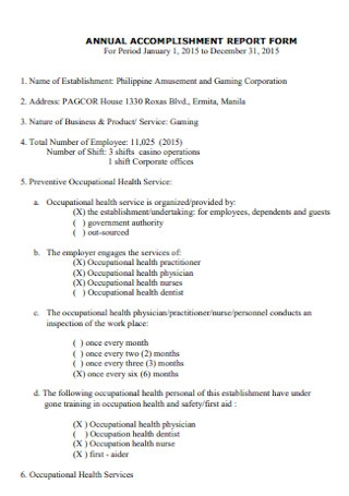 Annual Accomplishment Report Form Template