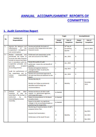Annual Accomplishment Report for Committes