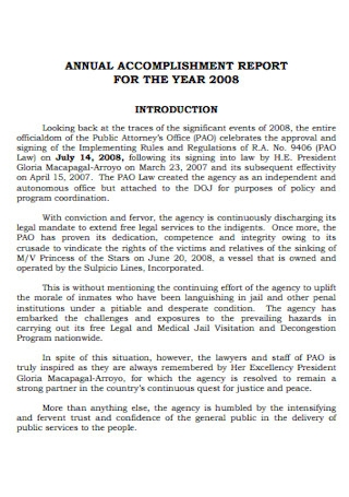 Annual Accomplishment Report for the Year