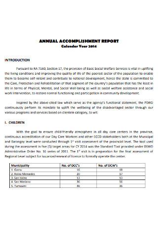 Annual Accomplishment Year Report