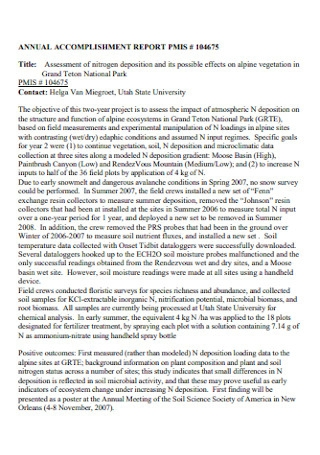 Annual Assessment Accomplishment Report