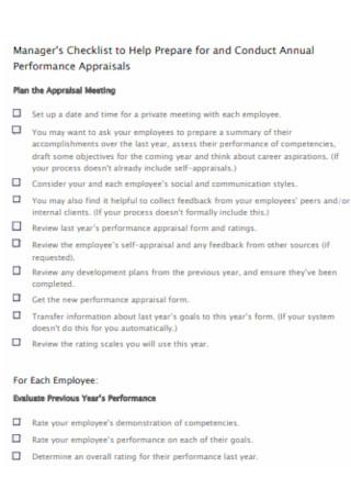 Annual Performance Appraisals Checklist