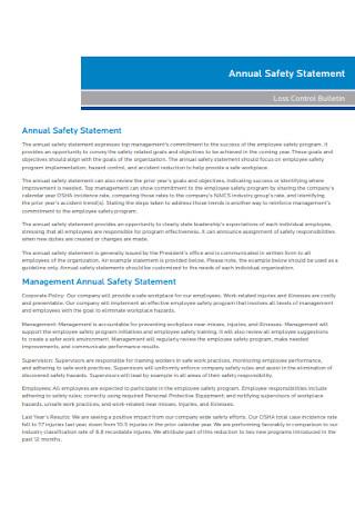 Annual Safety Statement