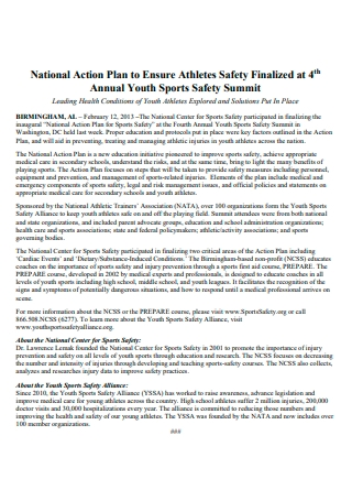 Annual Youth Sports Safety National Action Plan