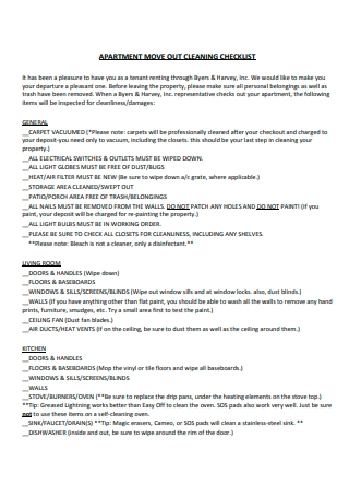 Apartment Move Out Cleaning Checklist