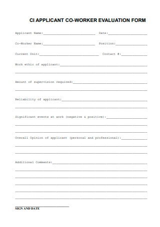 Applicant Co Worker Evaluation Form