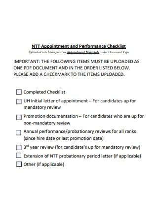 Appointment and Performance Checklist