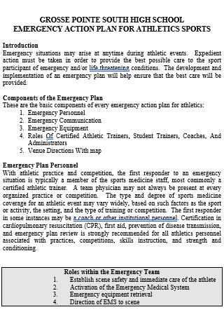 Athletics Sports Emergency Action Plan