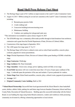 Band Press Release Fact Sheet