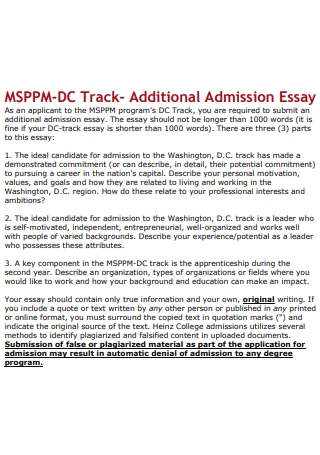 Basic Admission Essay