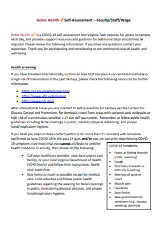 Basic Faculty Self Assessment