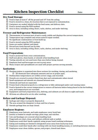 Basic Kitchen Inspection Checklist