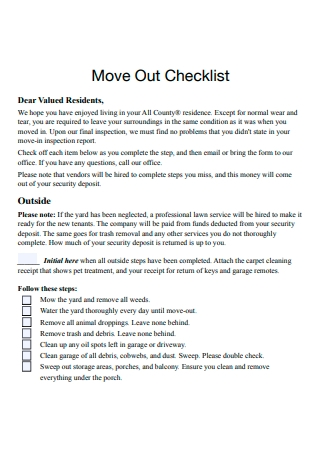Basic Move Out Checklist
