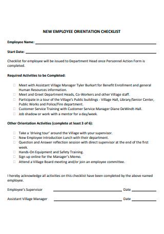 Basic New Employee Orientation Checklist