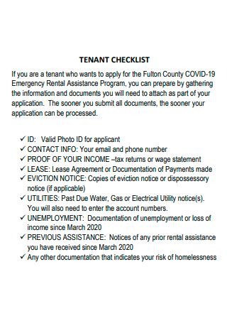Basic Tenant Checklist