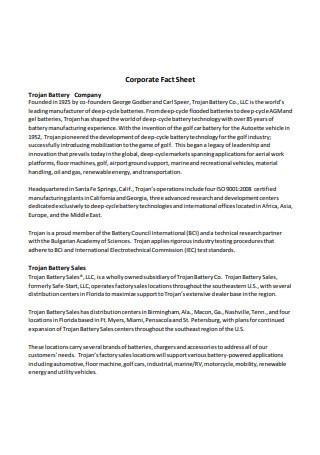 Battery Company Corporate Fact Sheet