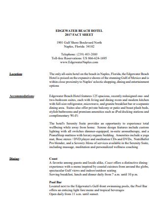 Beach Hotel Fact Sheet