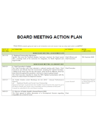Board Meeting Action Plan Template