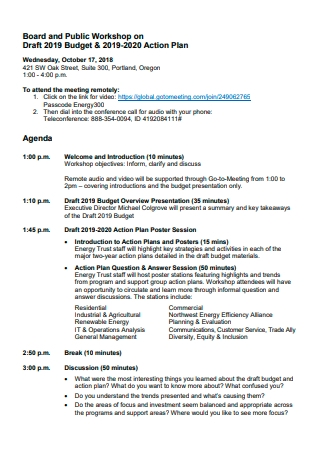 Board and Public Workshop on Budget Action Plan