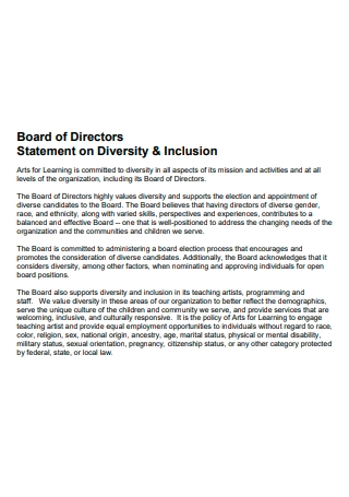 Board of Directors Diversity and Inclusion Statement