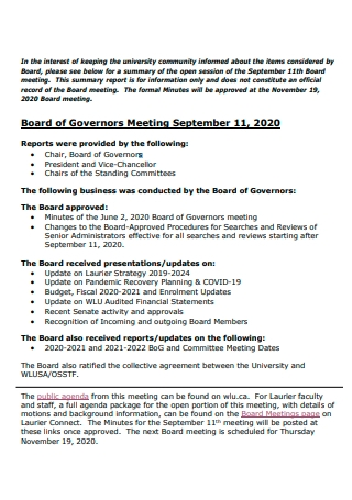 Board of Governors Meeting Summary Report