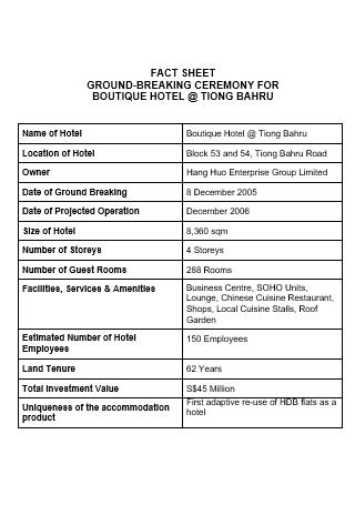 Boutique Hotel Fact Sheet