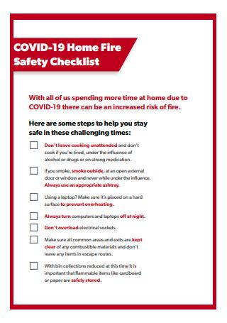 COVID 19 Home Fire Safety Checklist