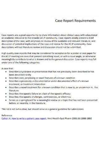 Case Report Requirements Template
