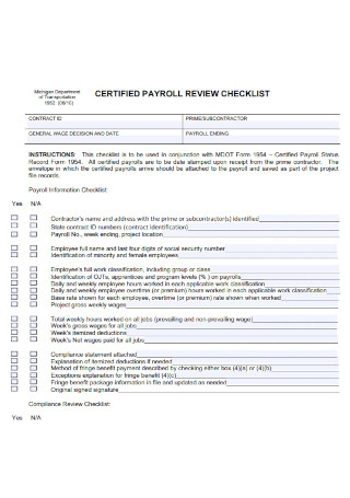 Certified Payrolll Review Checklist