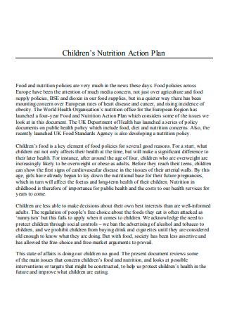 Children Nutrition Action Plan