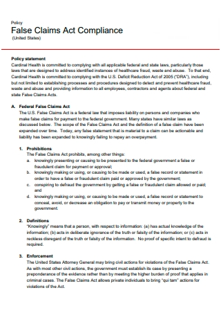Claims Act Compliance Policy Statement