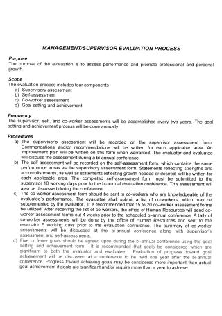 Co Worker Supervisor Evaluation