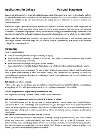 College Application Personal Statement in PDF