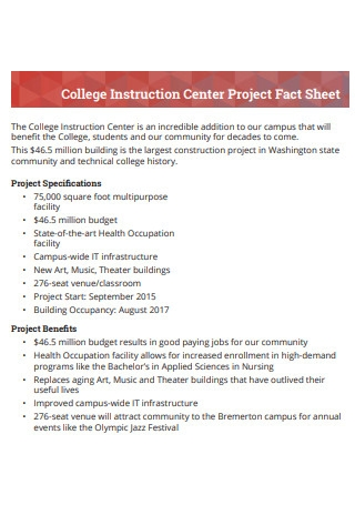 College Center Project Fact Sheet
