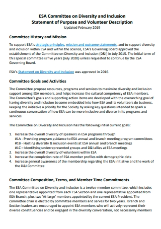 Committee on Diversity and Inclusion Statement