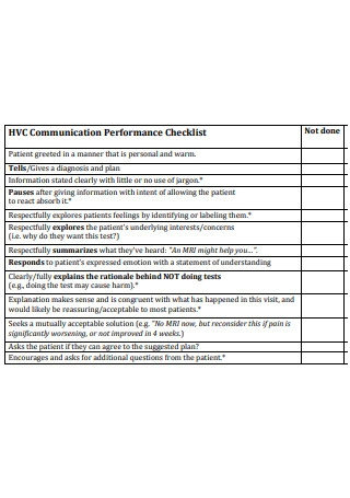 Communication Performance Checklist