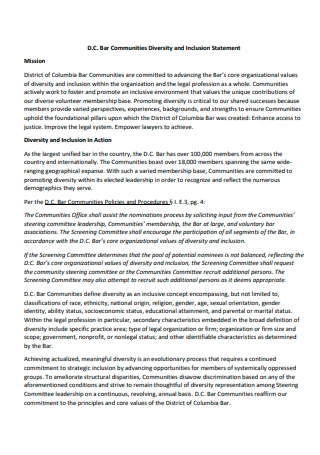 Communities Diversity and Inclusion Statement