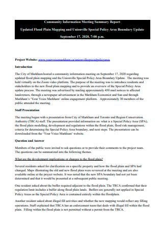 Community Information Meeting Summary Report