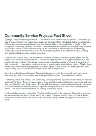 Community Service Projects Fact Sheet