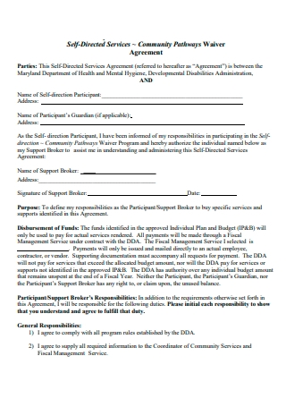 Community Waiver Agreement