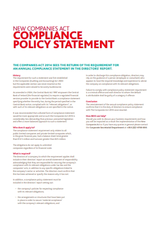 Companies Act Compliance Policy Statement