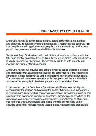 Compliance Policy Statement Example