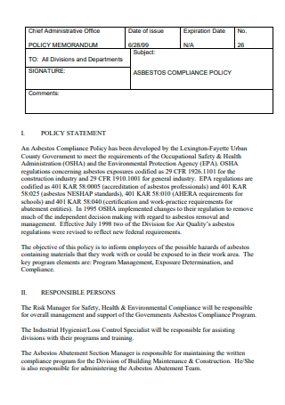Compliance Policy Statement Format