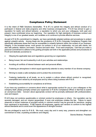 Compliance Policy Statement Template