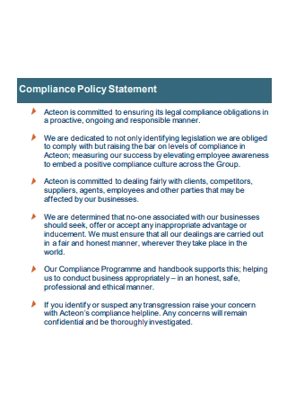 Compliance Policy Statement in PDF