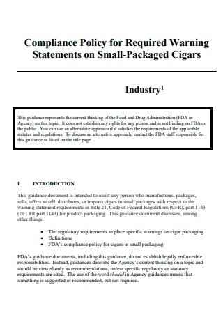 Compliance Policy Statement on Cigars
