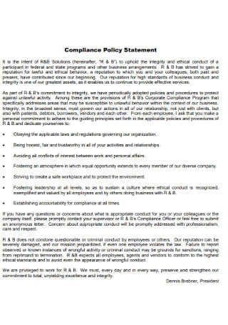 Compliance Policy Statement