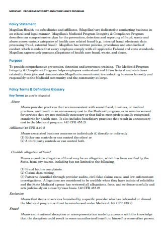 Compliance Program Policy Statement