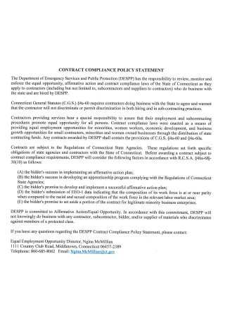 Contract Compliance Policy Statement